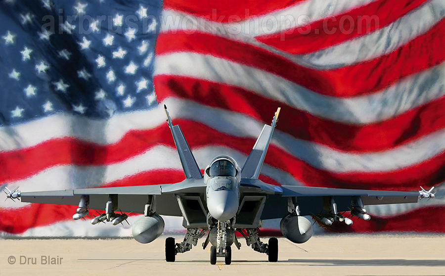 F-18 Painting - Stars And Stripes Forever by Dru Blair