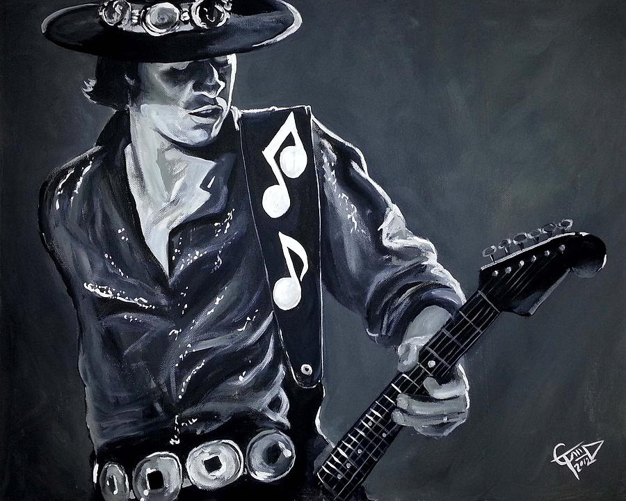 Stevie Ray Vaughan Painting By Tom Carlton