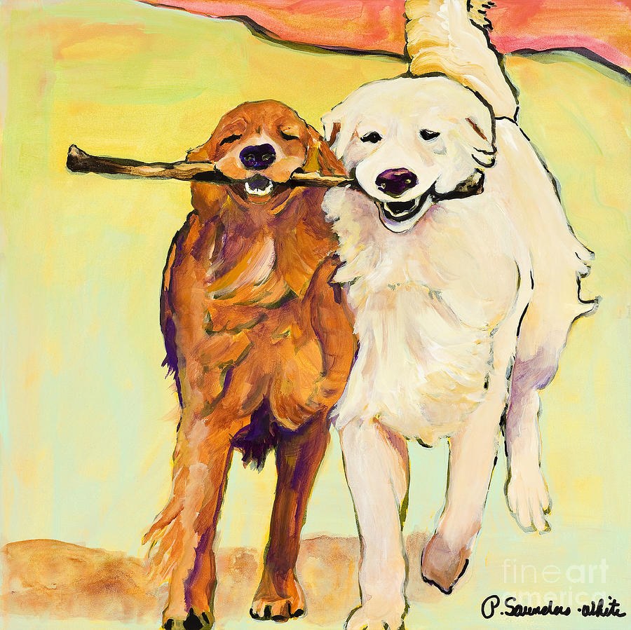 Golden Retrievers Painting - Stick With Me by Pat Saunders-White