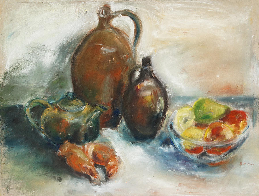Still Life Painting - Still Life With Earthen Jugs by Barbara Pommerenke