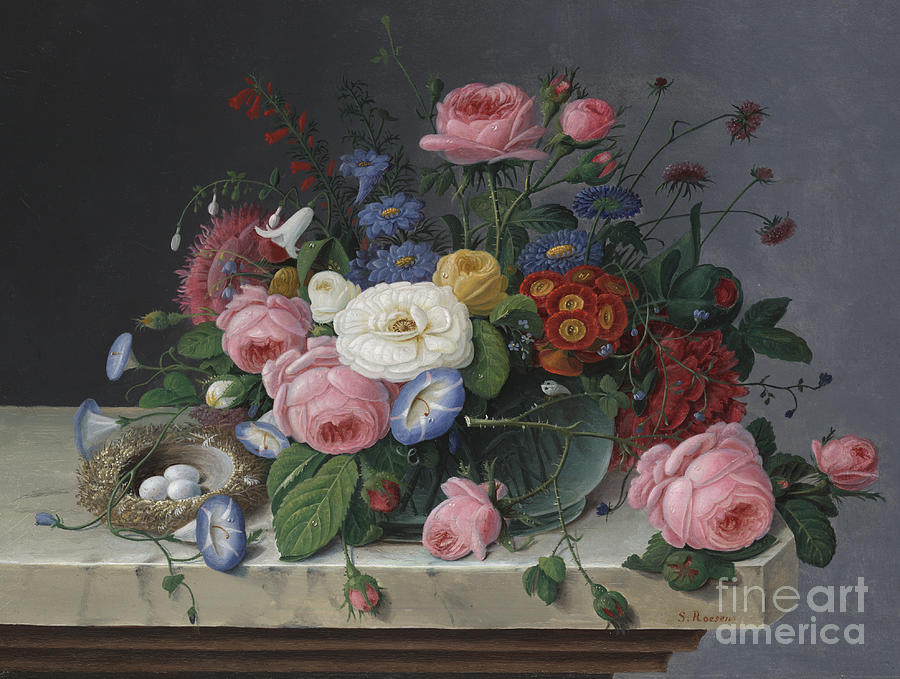Life Painting - Still Life With Flowers And Birds Nest by Severin Roesen