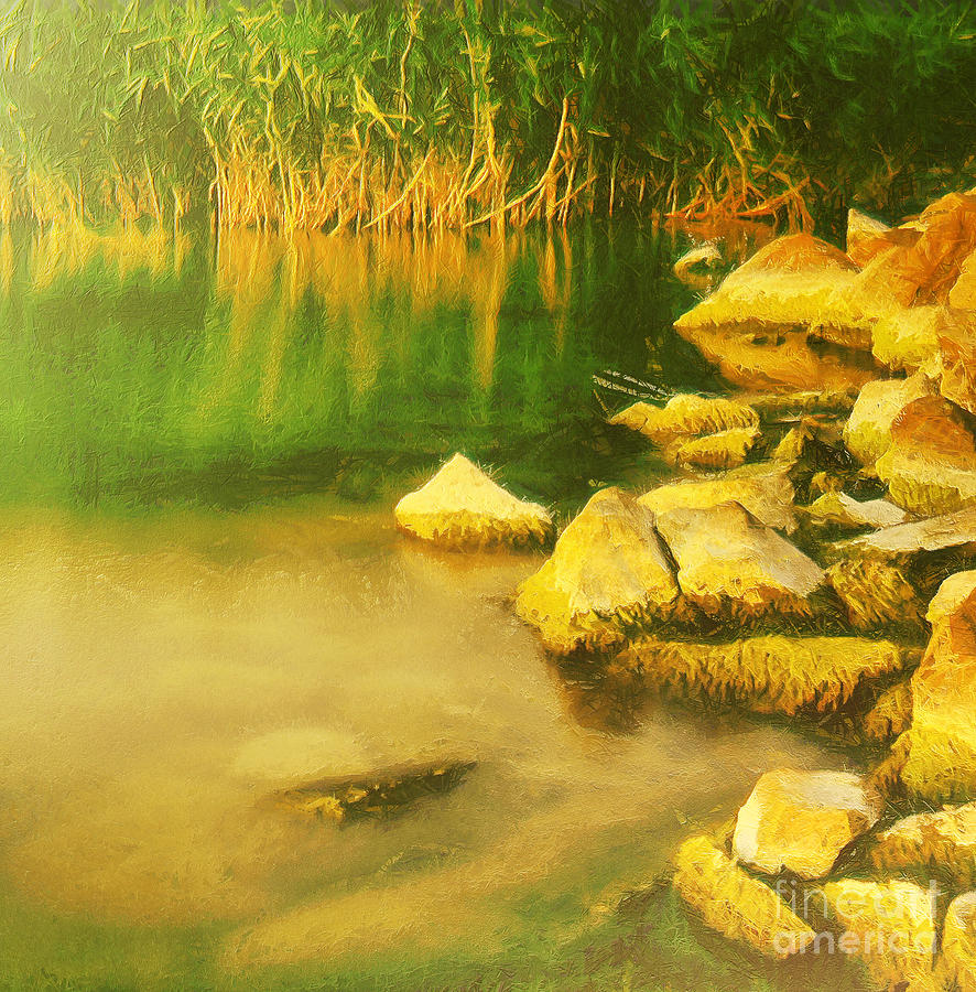 Background Painting - Stones In Front Of The Reed by Odon Czintos
