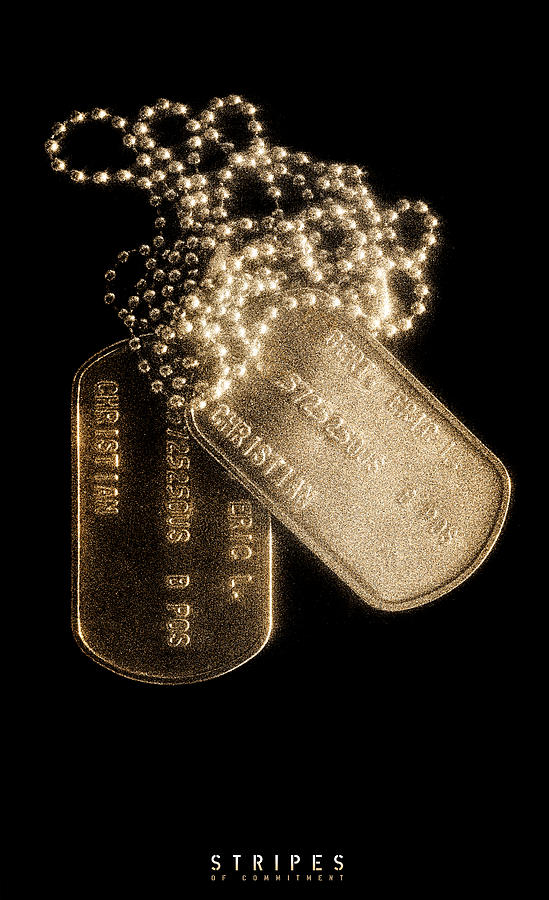 Dog Tag Photograph - Stripes Of Commitment by Weston Westmoreland