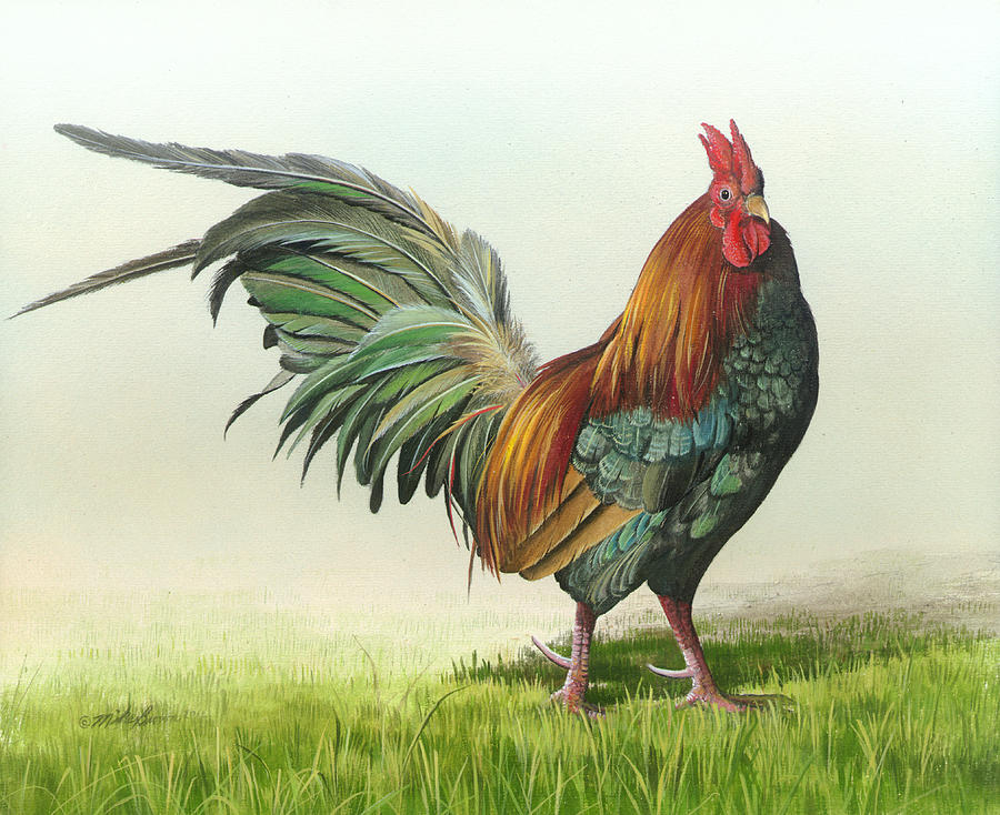 Rooster Painting - Strutting by Mike Brown