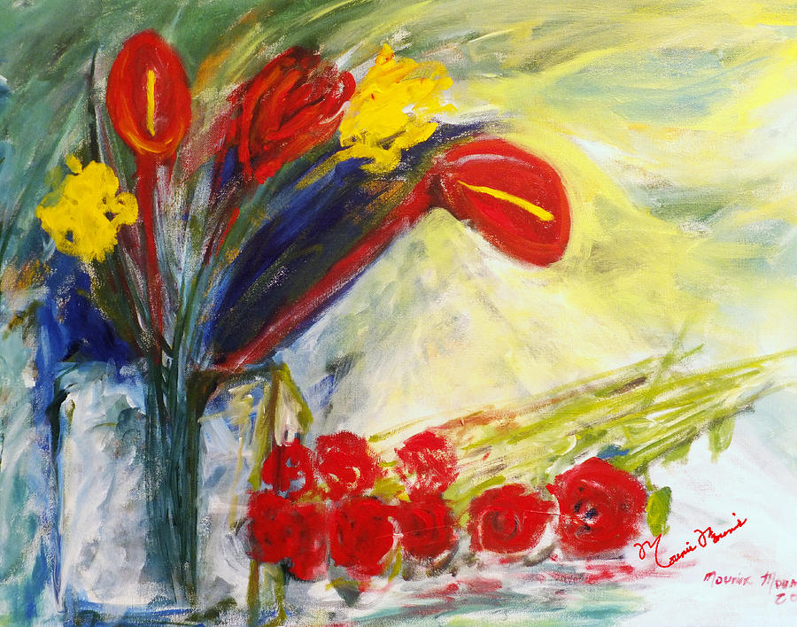 Flowers Arrangement Painting - Summer Bouquet by Mounir Mounir