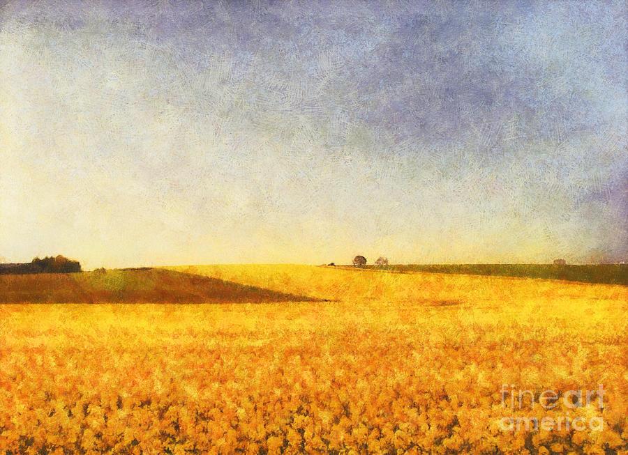 Landscape Painting - Summer Field by Pixel Chimp