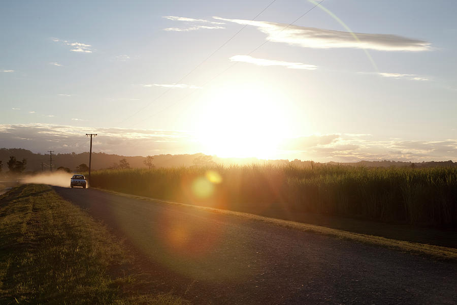 Sun Flare On Australian Country Road Photograph by The Photo Commune