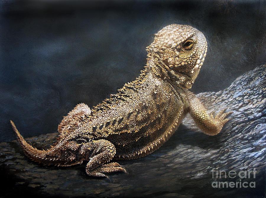 Horned Toad Painting - Sunbather by Artist Karen Barton