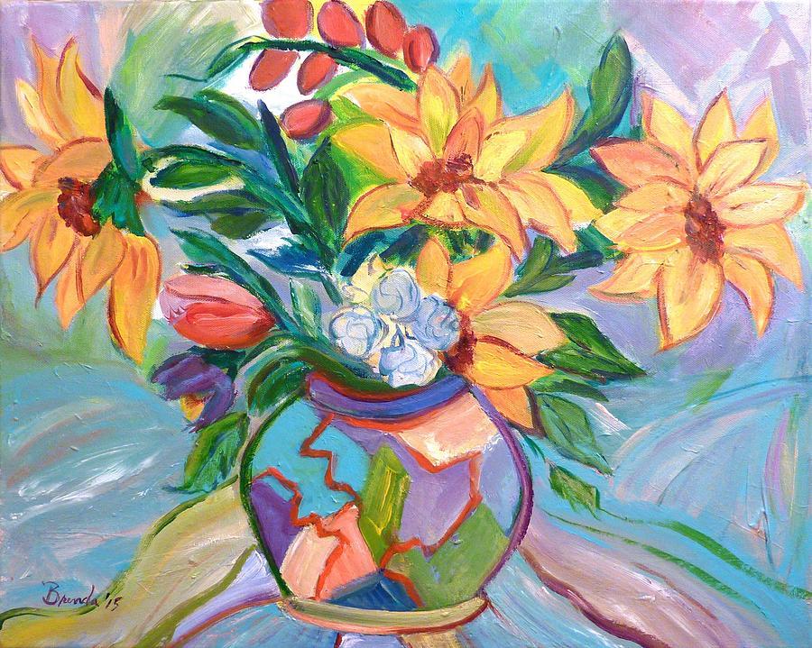 Painting Photograph - Sunflowers by Brenda Ruark