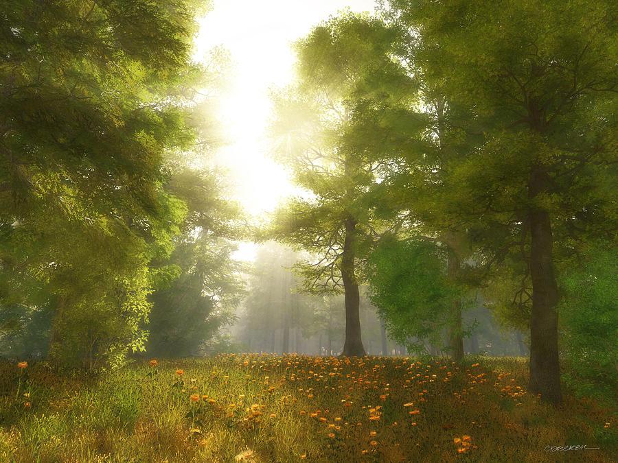 Meadow Digital Art - Sunlit Meadow by Cynthia Decker