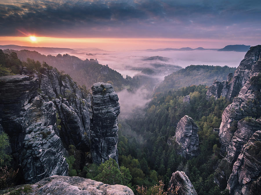 Landscape Photograph - Sunrise On The Rocks by Andreas Wonisch