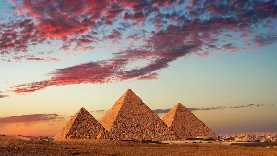 Sunset At The Pyramids, Giza, Cairo Photograph by Nick Brundle Photography