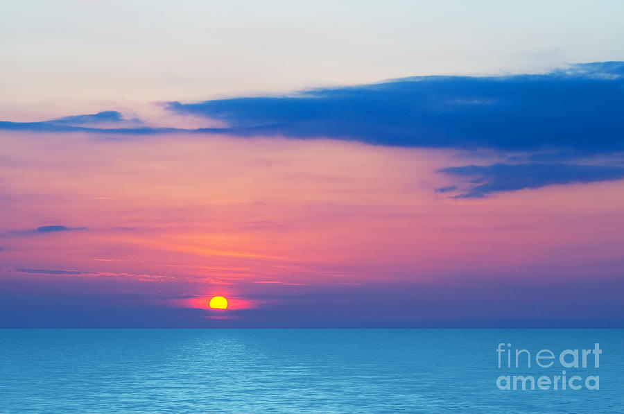 Background Photograph - Sunset By The Sea by Michal Bednarek