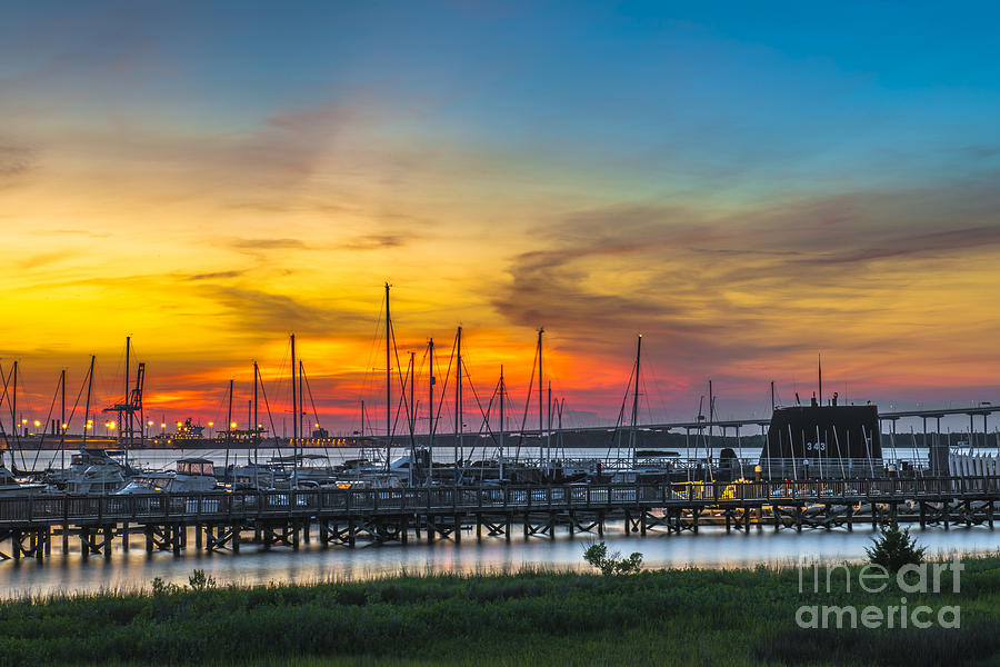Sunset Over Charleston Harbor Photograph