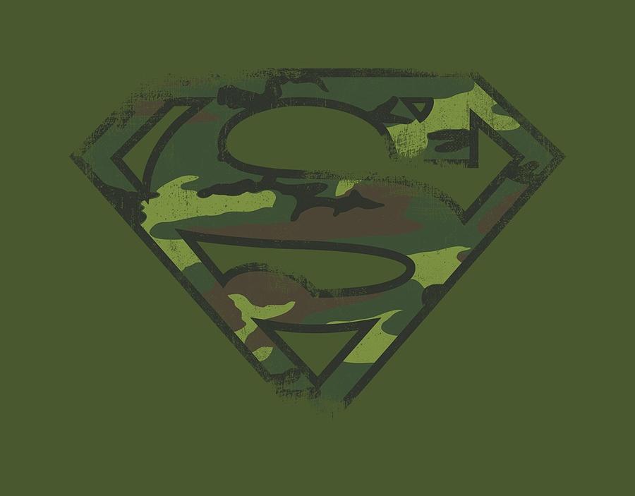Superman Digital Art - Superman - Distressed Camo Shield by Brand A