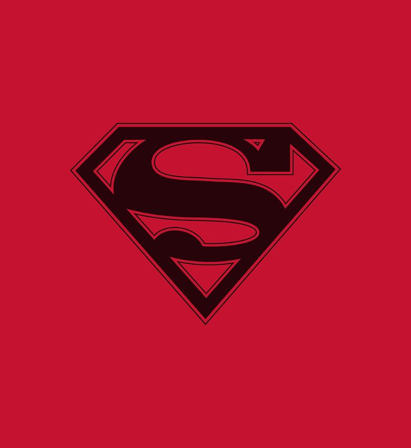 Superman Digital Art - Superman - Red And Black Shield by Brand A