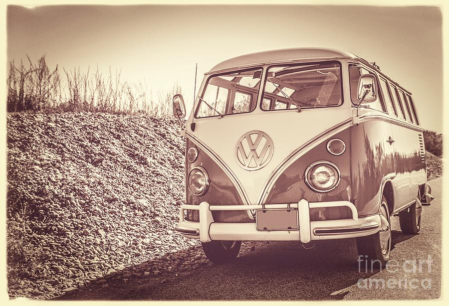 Nature Photograph - Surfers Vintage Vw Samba Bus At The Beach by Edward Fielding