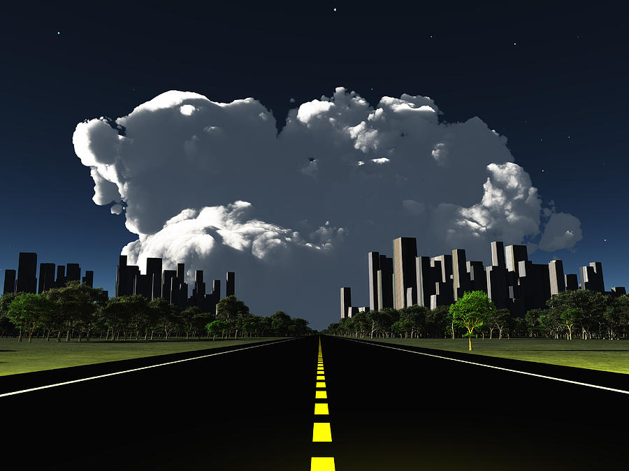 Surreal City Night Roadway Digital Art