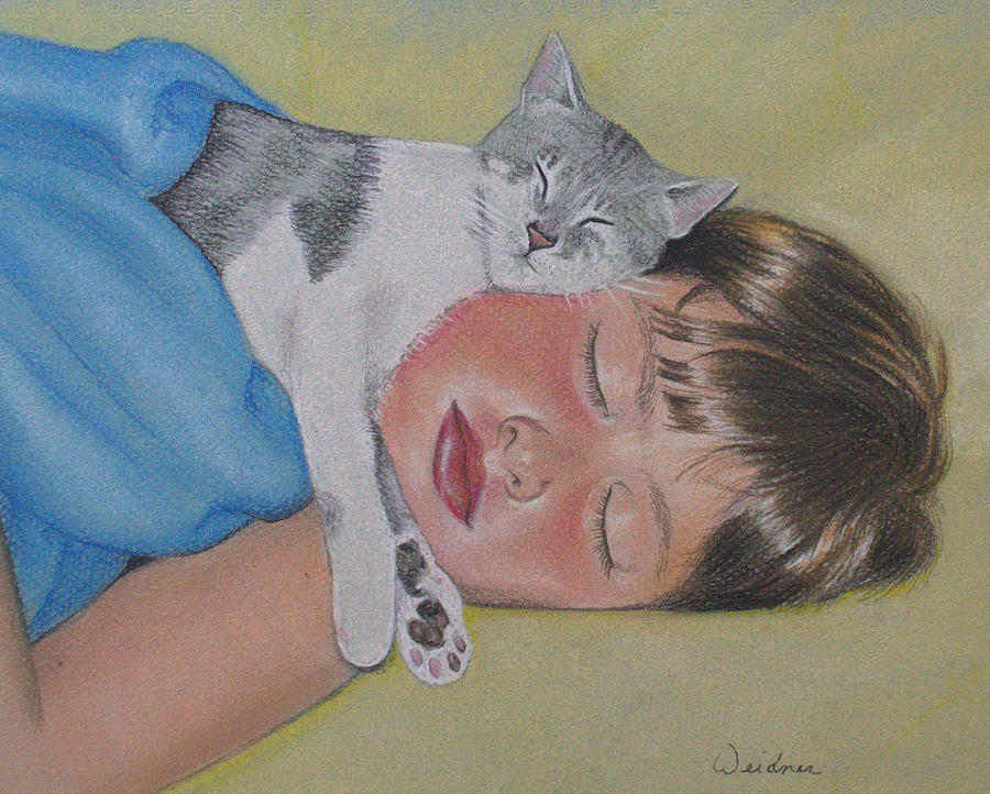 Boy Drawing - Sweet Dreams by Kathy Weidner