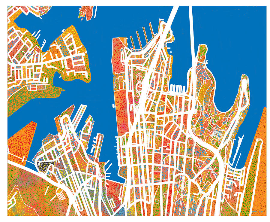 map digital art sydney australia street map by marlene watson