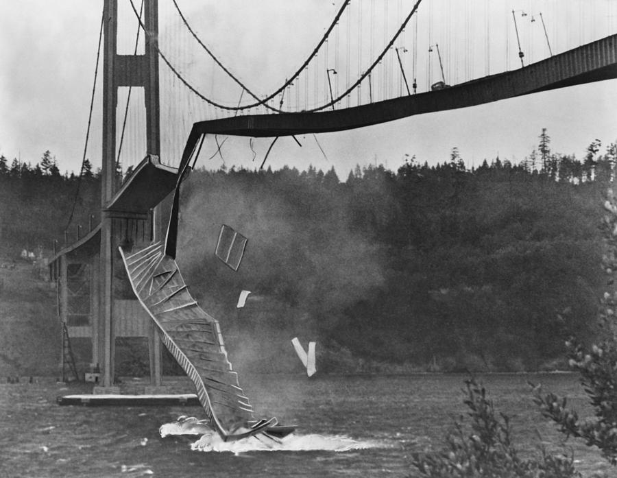 Bridge Photograph - Tacoma Narrows Bridge Collapse by Library Of Congress/science Photo Library