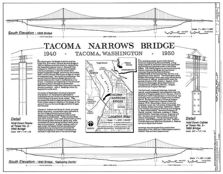 Bridge Photograph - Tacoma Narrows Bridges Compared by Library Of Congress/science Photo Library
