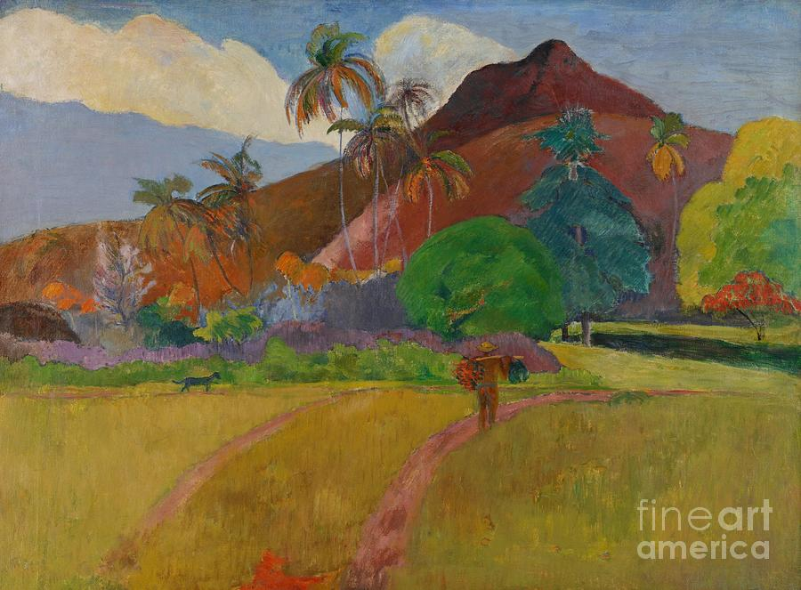Tahiti; Tahitian; Landscape; View; Rural; Remote; French Polynesia; Mountain; Mountainous; Male; Walking; Path; Palm Tree; Trees; Tropical Painting - Tahitian Landscape by Paul Gauguin