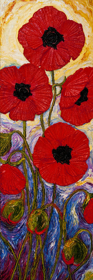 Oil On Canvas Painting - Tall Red Poppies by Paris Wyatt Llanso