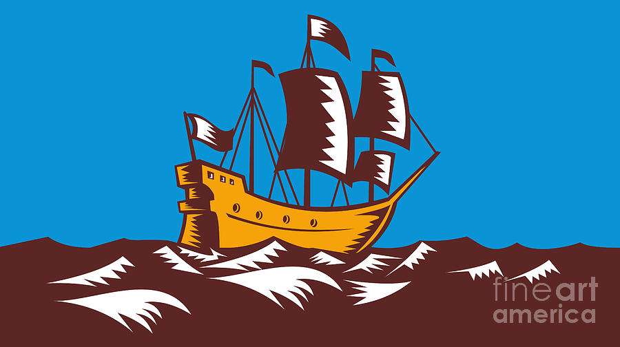 Ship Digital Art - Tall Sailing Ship Retro Woodcut by Aloysius Patrimonio