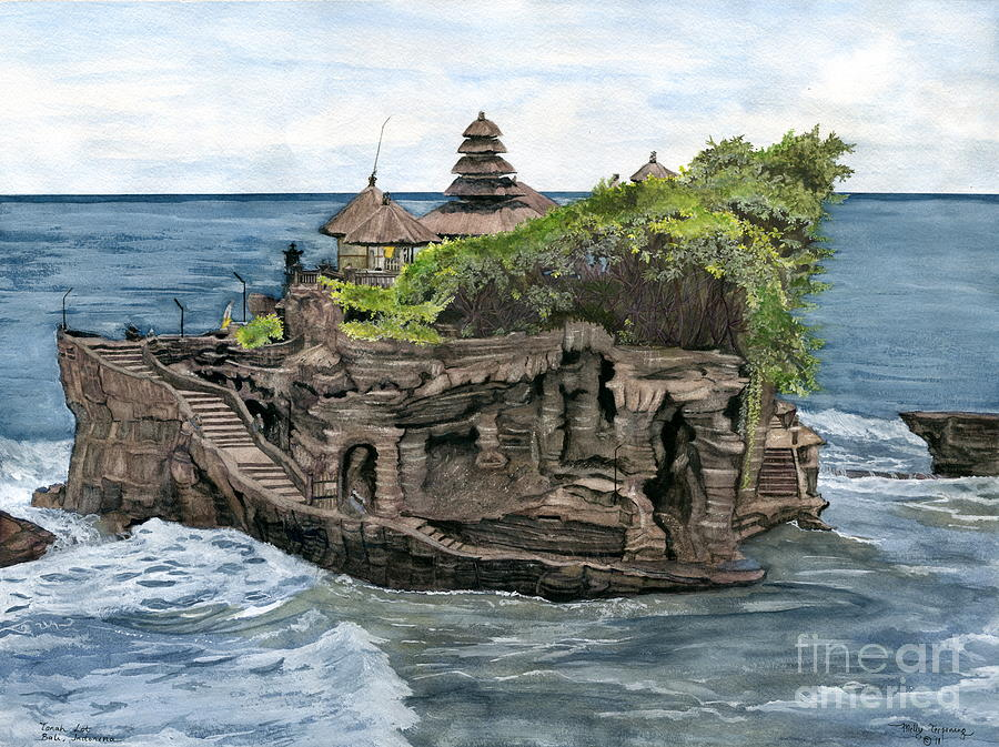 Tanah Lot Temple Bali Indonesia Painting By Melly Terpening