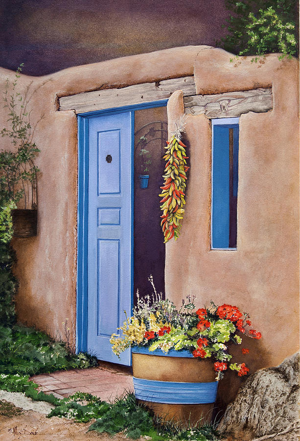 Taos New Mexico Barrel Of Red Geraniums Painting By Mary Dove