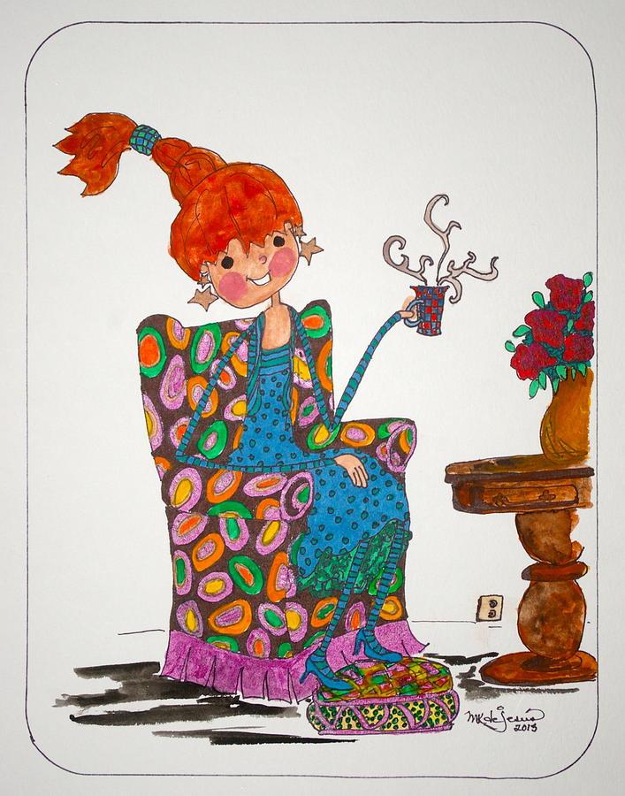 Tea Time Drawing - Tea Time by Mary Kay De Jesus