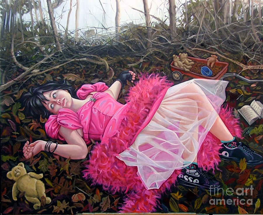 Pink Painting - teddy Bears Picnic by Shelley Laffal