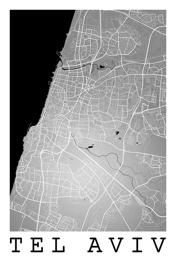 Tel Aviv Street Map Tel Aviv Israel Road Map Art On Color Digital