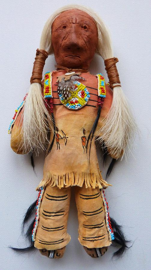 Native American Doll Mixed Media - Ten Bears Doll by Lucy Deane