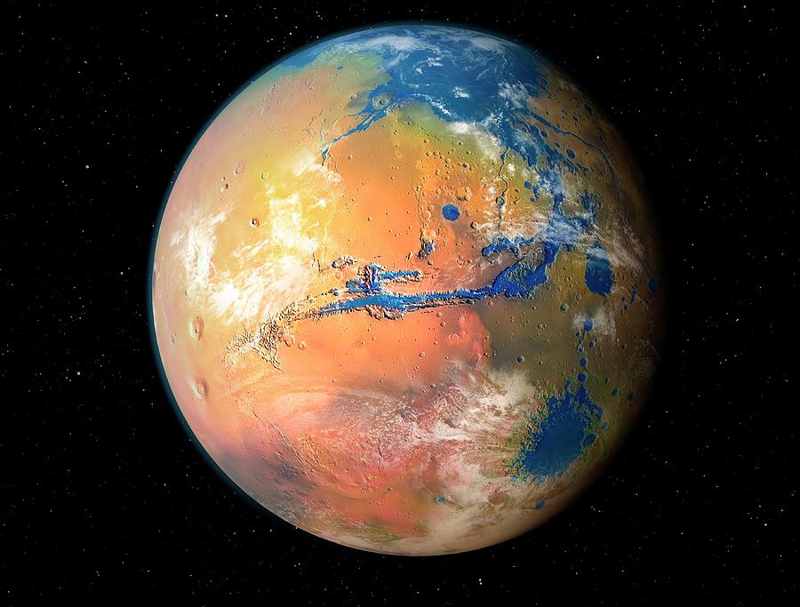Mars Photograph - Terraformed Mars by Mark Garlick/science Photo Library