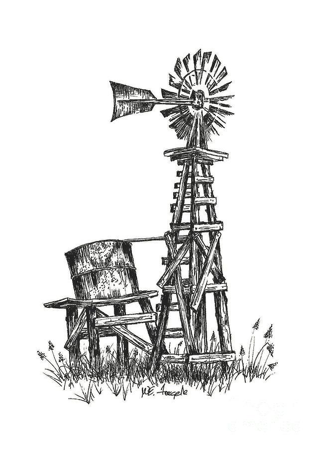 Texas Windmill Drawing by Walt Foegelle