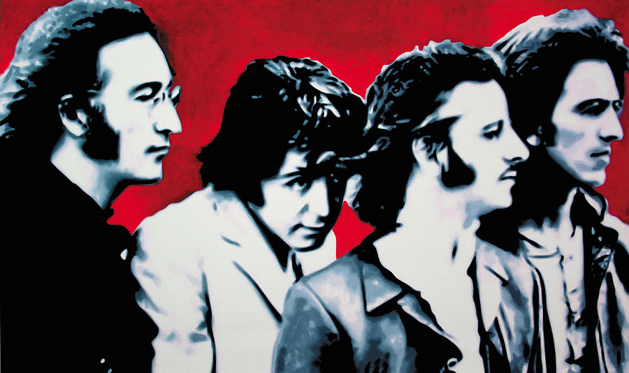 The Beatles Painting - The Beatles by Luis Ludzska