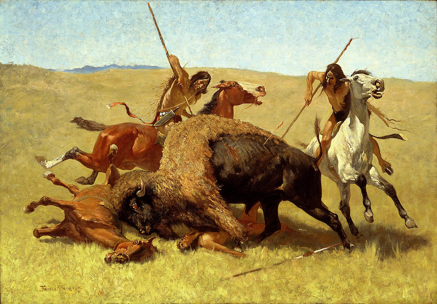 Frederic Remington Painting - The Buffalo Hunt by Frederic Remington