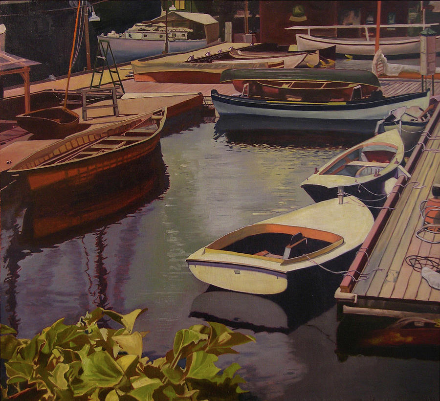 Boats Painting - The Canvas Boat by Thu Nguyen
