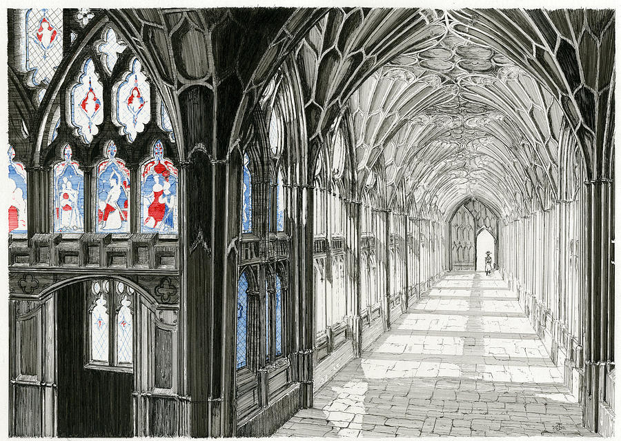 Cloisters Drawing - The Cloisters by John Simlett