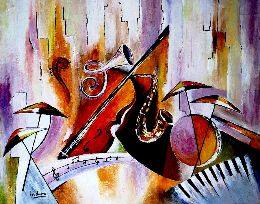 Abstract Painting - The Colour Of Music  by Indira Mukherji