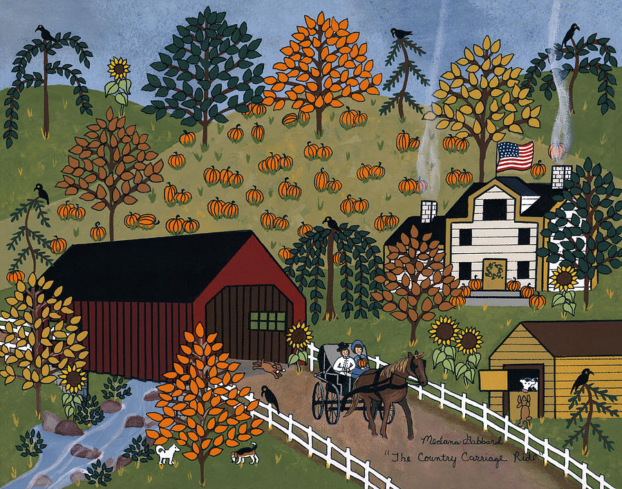 Folk Art Print Painting - The Country Carriage Ride by Medana Gabbard