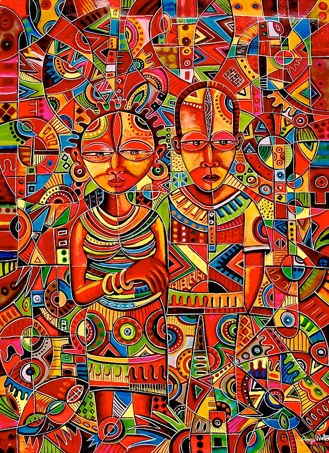 The couple painting by angu walters for African mural painting