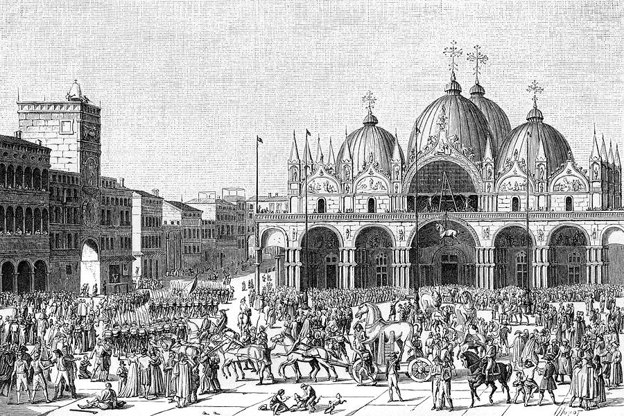 Venice Drawing - The French Pillage Venice,  Carrying by Mary Evans Picture Library