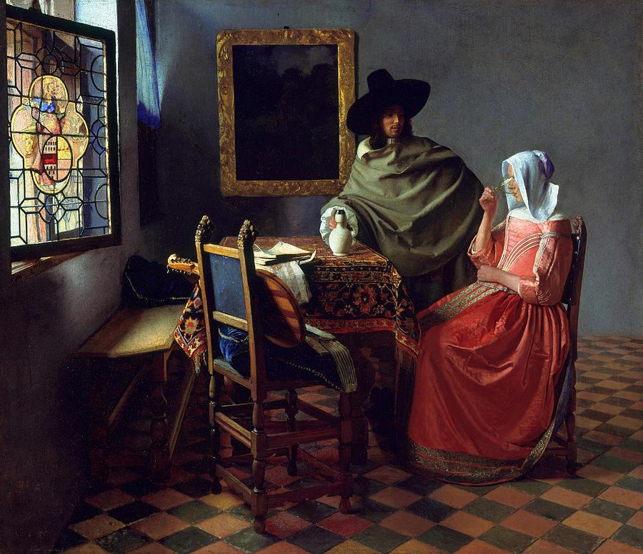 Johannes Vermeer Painting - The Glass Of Wine by Johannes Vermeer