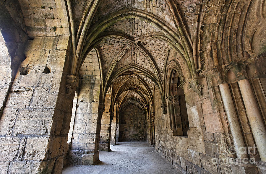 The Gothic Cloisters Inside The Crusader Castle Of Krak