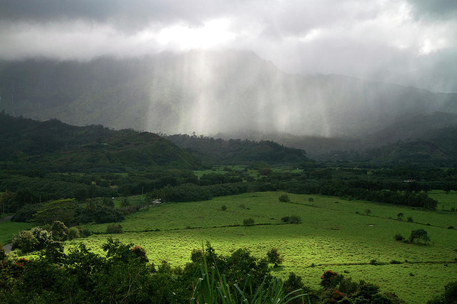 Agriculture Photograph - The Green Valley Surrounding Hanalei by David R. Frazier