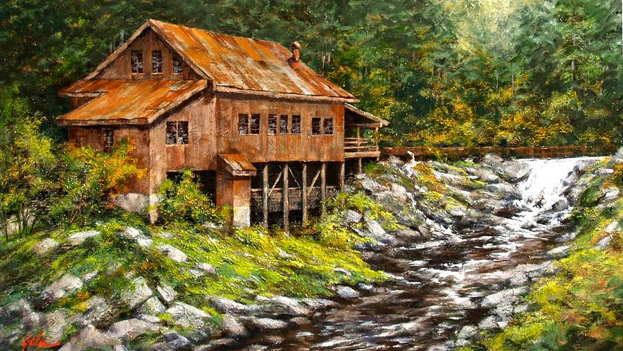 Grist Mill Painting - The Grist Mill by Jim Gola