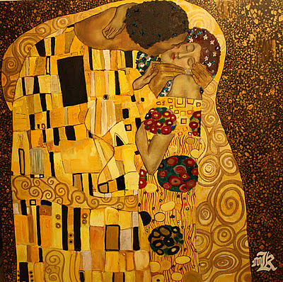 Gold Painting - The Kiss by Marwan  Khayat